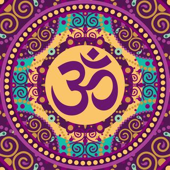 """Ein klassisches Mandala mit der Inschrift  """"Ohm""""."""